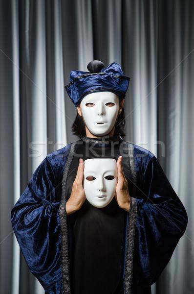 Vicces színpadi maszk férfi háttér szomorú Stock fotó © Elnur