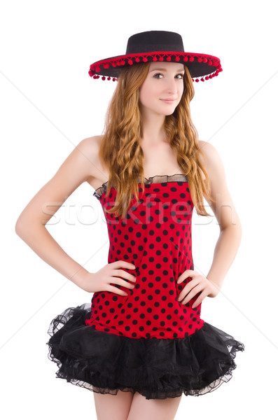 Young redhead girl in polka dot dress and  sombrero isolated on  Stock photo © Elnur