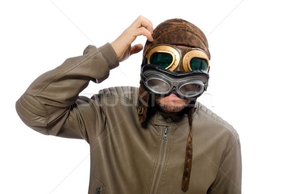 Vicces pilóta izolált fehér arc divat Stock fotó © Elnur