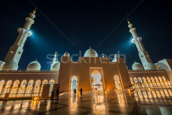 Stock fotó: Mecset · épület · éjszaka · napfelkelte · sötét · panoráma