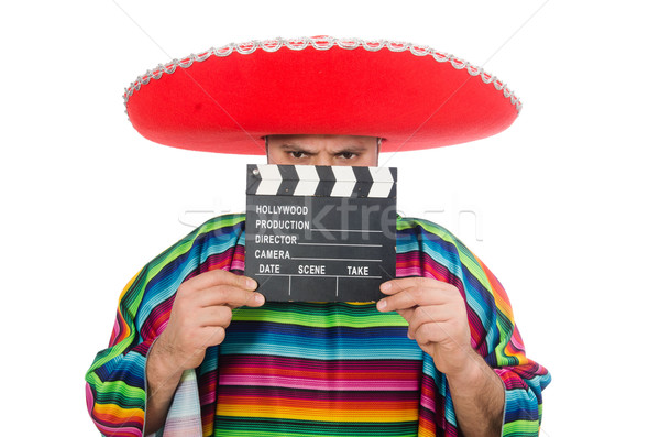 Funny mexican with clapper-board isolated on white Stock photo © Elnur