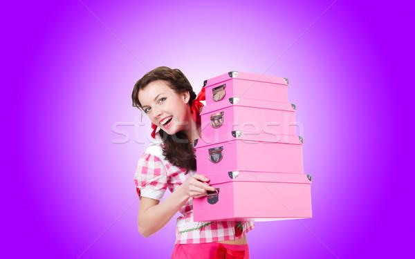 Stoccaggio scatole bianco donna ragazza Foto d'archivio © Elnur