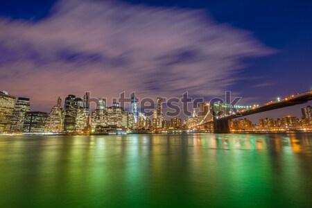 Gece panorama Manhattan New York ABD iş Stok fotoğraf © Elnur