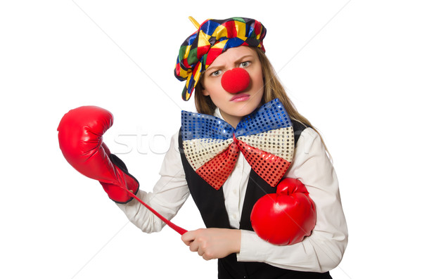Pretty female clown with box gloves isolated on white Stock photo © Elnur