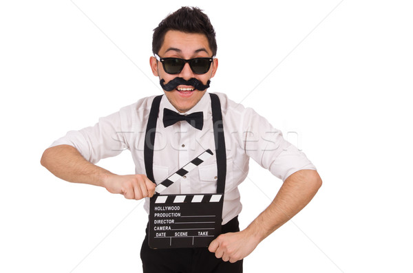 Whiskered young man with clapperboard isolated on white Stock photo © Elnur