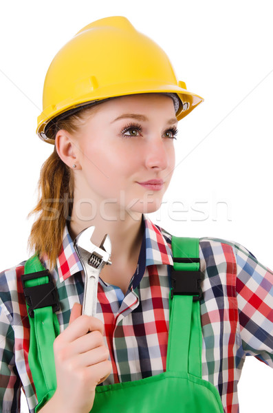Constructon worker female with wrench isolated on white Stock photo © Elnur