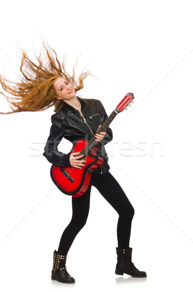 Pretty girl with guitar isolated on white Stock photo © Elnur
