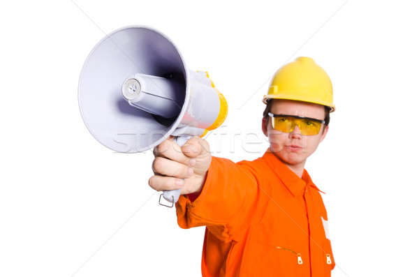 Builder with loudspeaker isolated on white Stock photo © Elnur