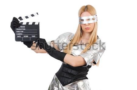 женщину кожа костюм пистолет красоту пушки Сток-фото © Elnur
