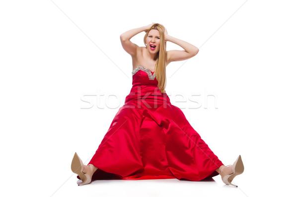 Nő csinos piros estélyi ruha izolált fehér Stock fotó © Elnur