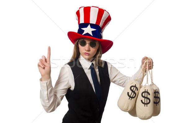 Сток-фото: женщину · деньги · изолированный · белый · бизнеса · девушки