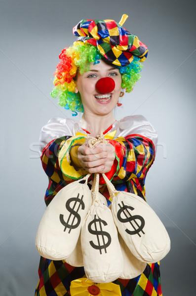 Bohóc pénz táska vicces üzlet buli Stock fotó © Elnur