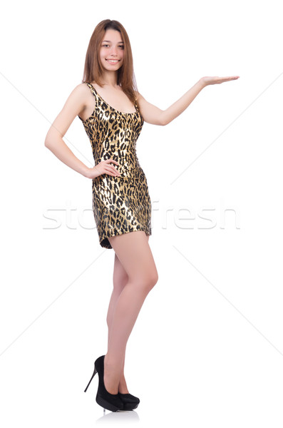 Stock photo: Beautiful woman in leopard dress isolated on white