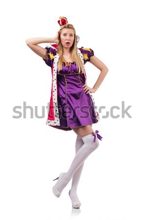 Cute girl in purple masquerade dress and crown isolated on white Stock photo © Elnur