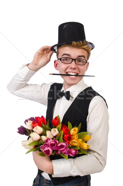 Smiling gentleman with flowers isolated on white Stock photo © Elnur