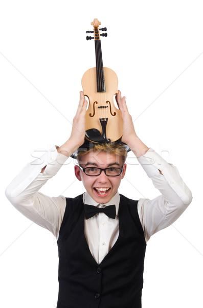 Drôle violon joueur isolé blanche homme Photo stock © Elnur
