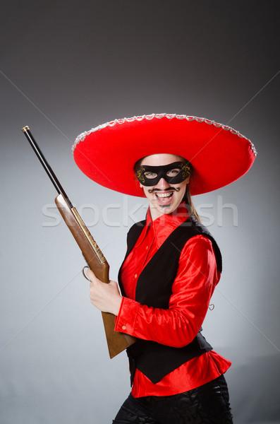 Osoby sombrero hat funny samobójstwo Zdjęcia stock © Elnur