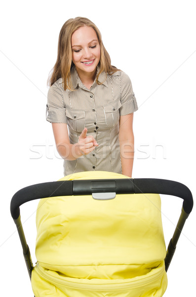 Woman with baby and pram isolated on white Stock photo © Elnur