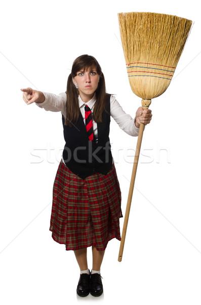 Drôle fille balai isolé blanche femme Photo stock © Elnur