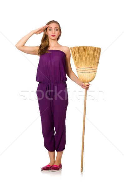 Ev kadını süpürge yalıtılmış beyaz kadın saç Stok fotoğraf © Elnur