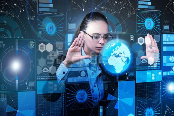 Businesswoman in data mining concept Stock photo © Elnur