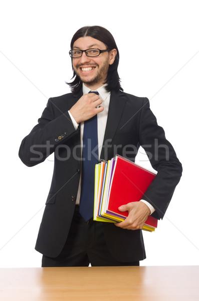 Businessman holding notebooks isolated on white Stock photo © Elnur