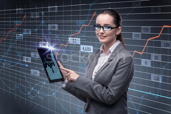 Businesswoman in stock trading concept Stock photo © Elnur