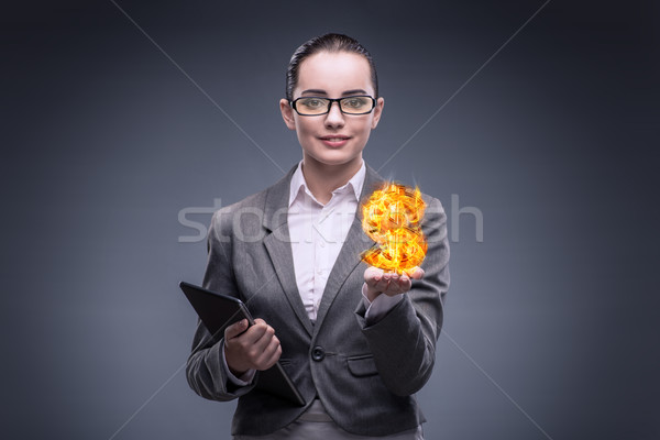 деловая женщина сжигание американский знак доллара деньги Сток-фото © Elnur