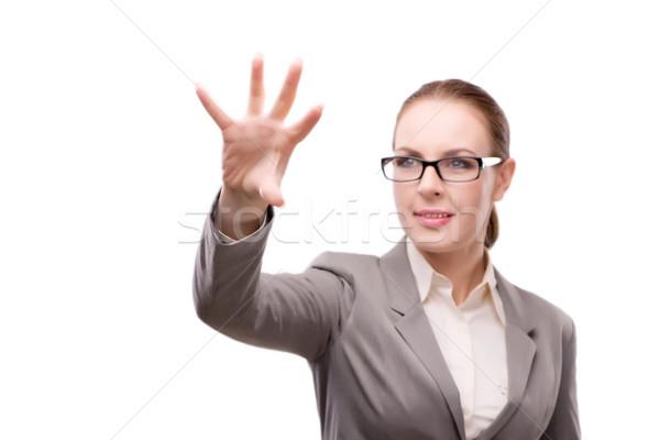 Strict serious businesswoman isolated on white Stock photo © Elnur