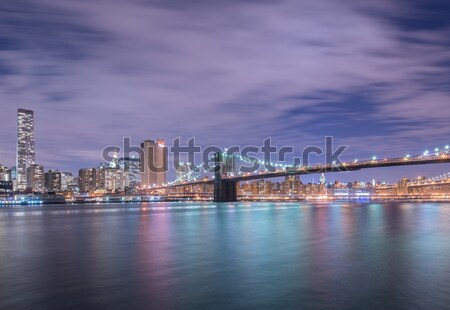 The night view of manhattan and brooklyn bridge Stock photo © Elnur