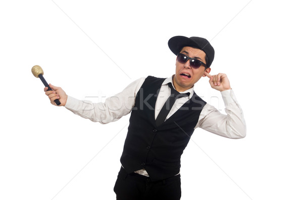 Funny man in karaoke club isolated on white Stock photo © Elnur