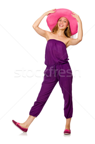 Stock fotó: Szép · nő · modell · izolált · fehér · mosoly