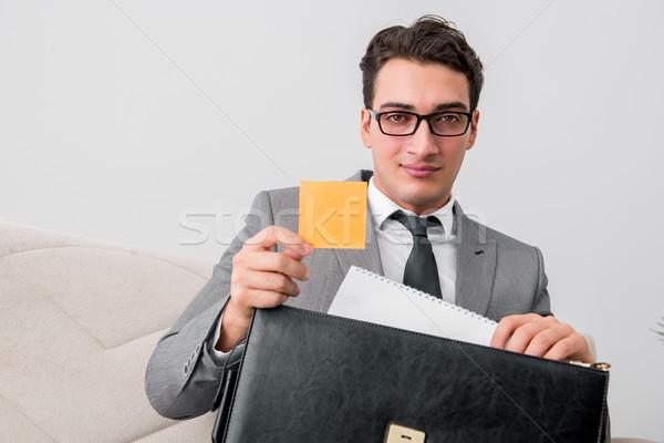 бизнесмен портфель бизнеса служба бумаги человека Сток-фото © Elnur