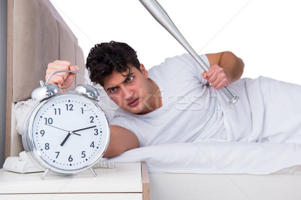 ストックフォト: 男 · ベッド · 不眠症 · 健康 · 野球