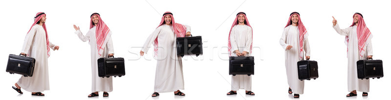 Arab man with luggage on white Stock photo © Elnur