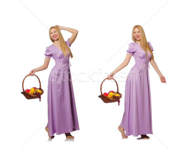 Kobieta owoców koszyka odizolowany biały dziewczyna Zdjęcia stock © Elnur