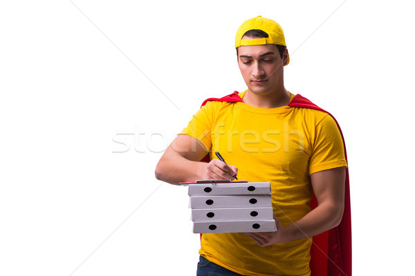 Pizza entrega tipo aislado blanco Foto stock © Elnur