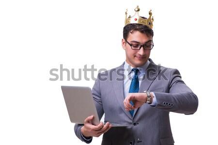 Króla biznesmen laptop odizolowany biały Zdjęcia stock © Elnur