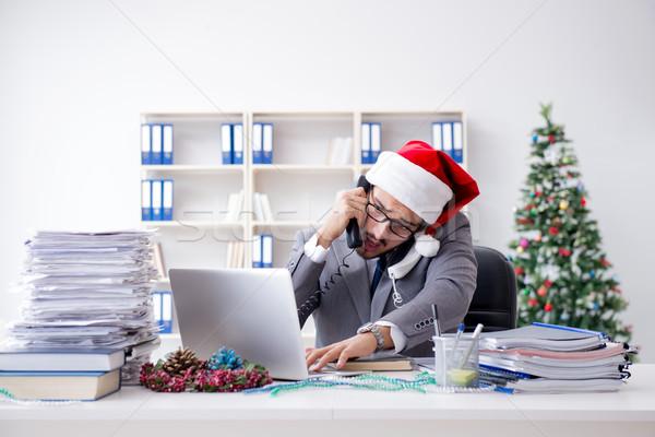 Stockfoto: Jonge · zakenman · vieren · christmas · kantoor · partij