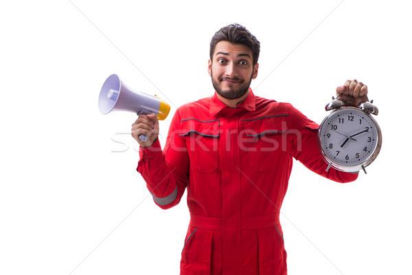 Jovem megafone despertador isolado branco Foto stock © Elnur