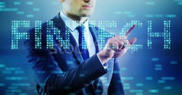 üzletember kisajtolás gombok számítógép pénz technológia Stock fotó © Elnur