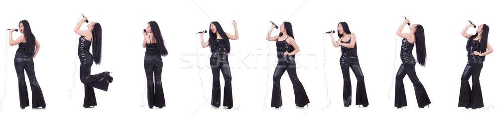 Vrouw zingen karaoke club witte Stockfoto © Elnur