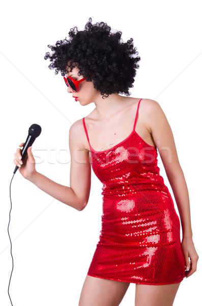 Zdjęcia stock: Pop · star · czerwona · sukienka · biały · strony · włosy