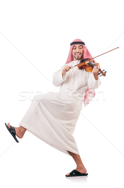 Arab man playing violin isolated on white stock photo