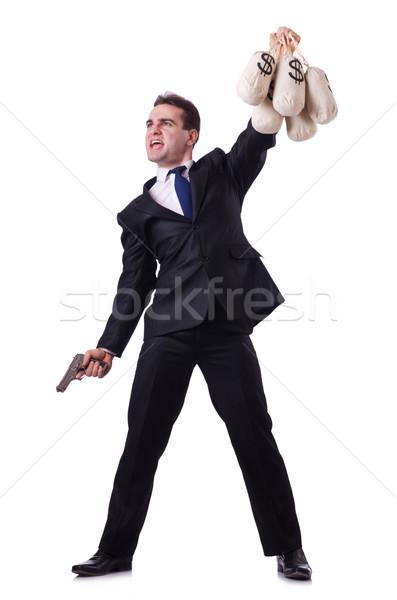 Hombre arma dinero mano máscara bolsa Foto stock © Elnur
