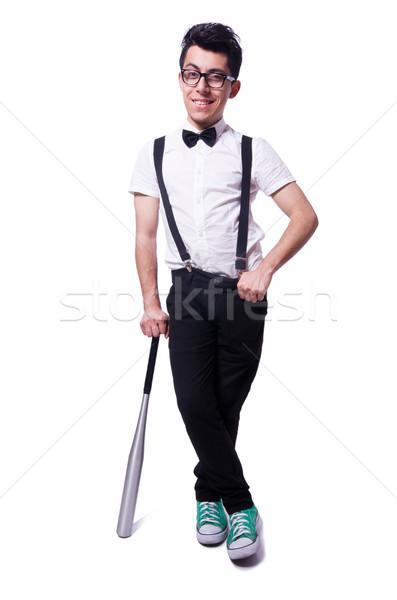 Engraçado homem taco de beisebol trabalhar esportes empresário Foto stock © Elnur