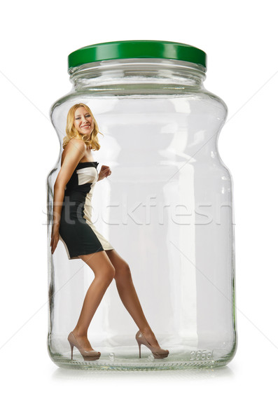 Woman in glass jar isolated on white Stock photo © Elnur