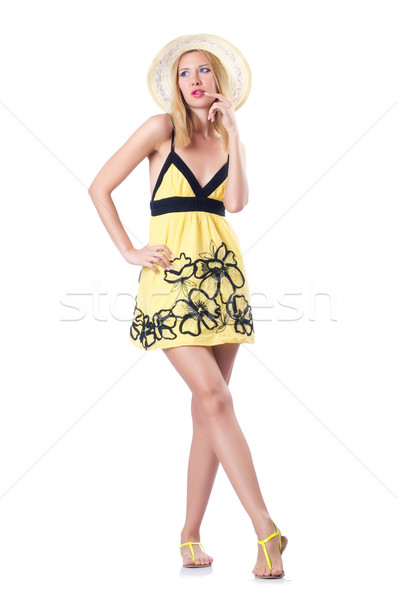 Young woman in summer dress on white Stock photo © Elnur