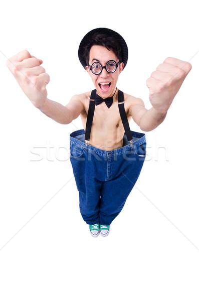 Komik adam pantolon yalıtılmış beyaz sağlık Stok fotoğraf © Elnur