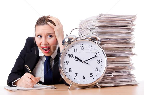 Foto stock: Mulher · empresária · gigante · despertador · escritório · trabalhar